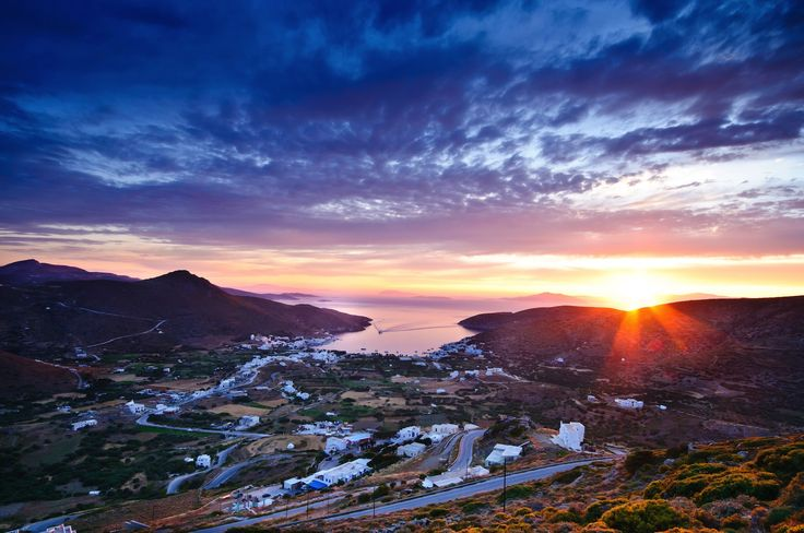 Sunset over Katapola Bay on Amorgos island