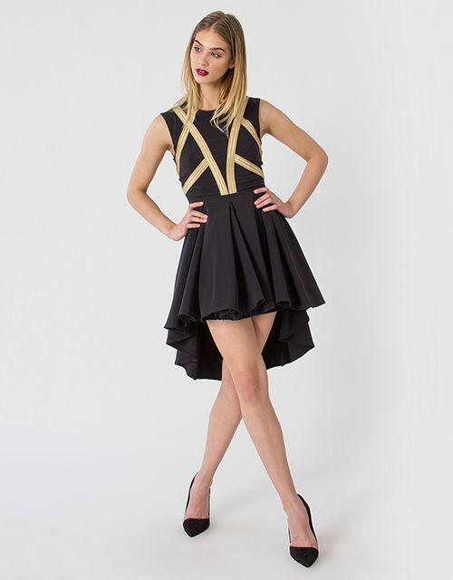 Asymmetrical dress with golden details