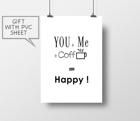 you  me  coffee  happy poster print home poster wall by thevertu
