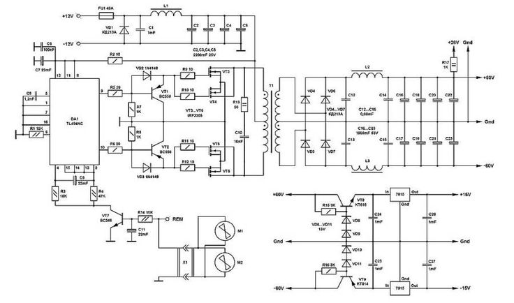 u00b1 60 volt switching power supply for pa