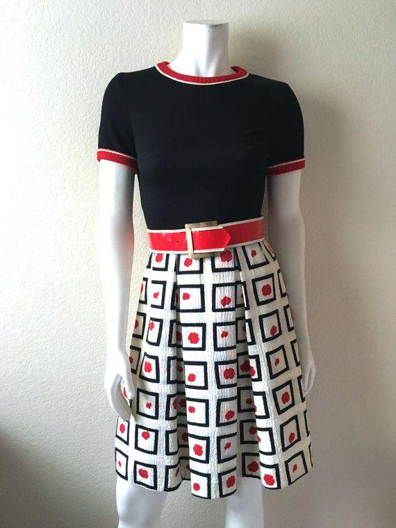 Vintage vrouwen 60 's Mod jurk zwarte rode witte door Freshandswanky