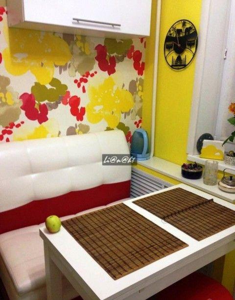 """Яркая кухня-малютка площадью всего 5,2 кв.м или """"как впихнуть невпихуемое"""""""