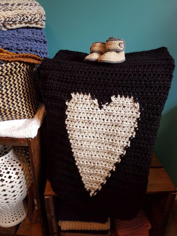 Crochet Plush Heart Baby Blanket, Lap Blanket, approx 30x36 by…