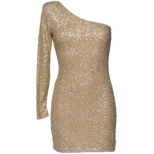AX Paris One Sleeve Sequin Dress ❤ liked on Polyvore featuring dresses, sequin cocktail dresses, one-sleeve dress, one shoulder dress, brown sequin dress and sequin embellished dress