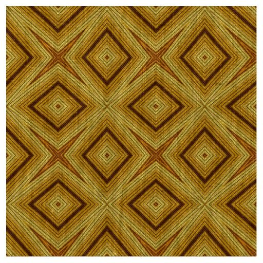 Modern African style geometric pattern brown and mustard yellow natural linen fabric #fabric #linen #brown #geometric