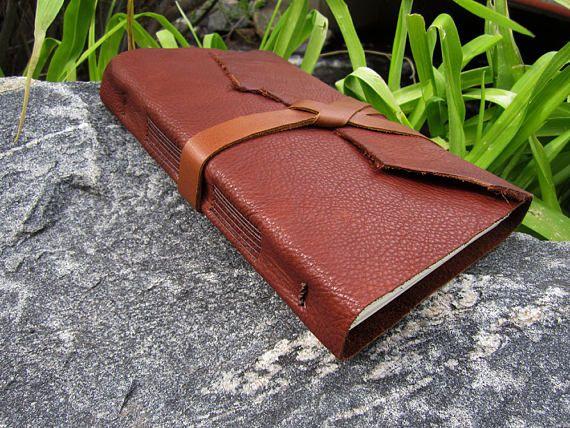Wide 9x6 Whiskey Deertan Leather Journal - Soft Bound Deertan - Handmade Wrap Journal