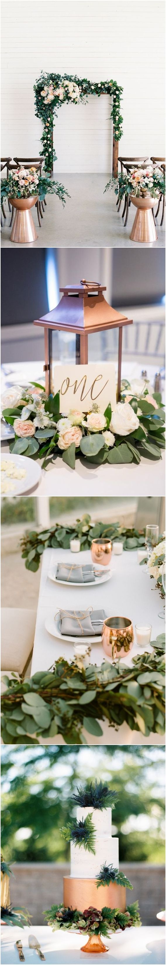 copper lantern and greenery eucalyptus wedding centerpiece ❤️ #greenerywedding #goldwedding #copperwedding #vintagewedding #weddingcolors #weddingideas http://www.deerpearlflowers.com/copper-and-greenery-wedding-color-ideas/