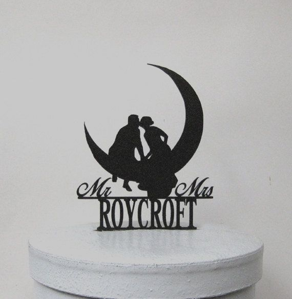 """This romantic Kissing on the Moon Wedding Cake topper comes with  Personalized Mr & Mrs last name Size; appx. 5.5W x6.5H  Topper is lightweight so it will not sink into your cake, yet sturdy, the perfect combination. It has a stake at the bottom so that it can be placed securely into the cake, the stake measure approx 1.75, the sticks are non removable.  It's made of 1/8"""" Black ABS plastic with non reflecting pebbled surface on the front and smooth back. ABS silhouette looks delicate and…"""