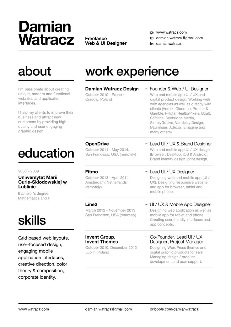 Nice Swiss Style Resume 2014 By Damian Watracz In Layout Awesome Ideas