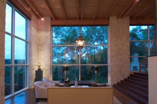 modern rustic living room, floor-ceiling windows: Home Theater, Architects, Living Rooms, 35 House, Austin Texas, Stones Home, House Interiors Design, Stones House, Watersmark 35