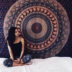 Teli Mare , Ouneed® Telo in cotone rotondo con mandala, in stile hippy, utilizzabile come copriletto, arazzo decorativo, tovaglia, telo da mare, pannello decorativo, tappeto per yoga, diam. (Nero)
