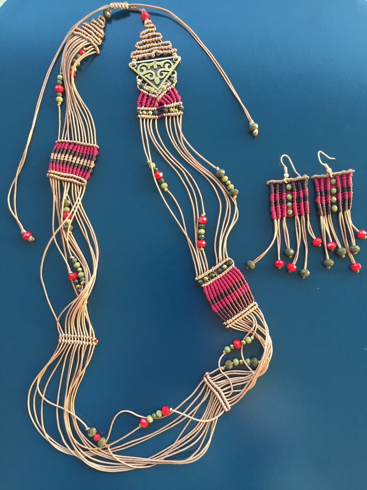 Macrame boho earrings and necklace in beige, indian red, olive green and dark brown colors