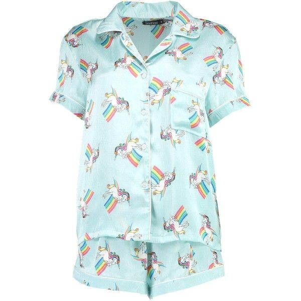 Boohoo Alice Unicorn Print Shirt & Short Set (33 AUD) ❤ liked on Polyvore featuring intimates, sleepwear, pajamas, short sleepwear, short pajamas, unicorn pyjamas, unicorn sleepwear and unicorn pajamas