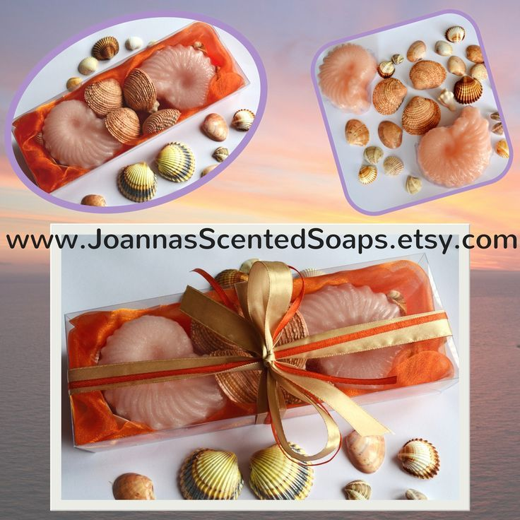 Create your very own mini oasis so that every time you want to feel the ocean kiss, just enjoy a spicy spa bath!  The essential oils of apple and cinnamon will revitalize and relax your body, mind and soul.  Natural Seashells found on the beaches of Paros island (Aegean Sea) and two light pink Decorative Nautilus Scented Luxury Soaps in apple - cinnamon perfume in a very nice decorated orange Handmade Gift Set.