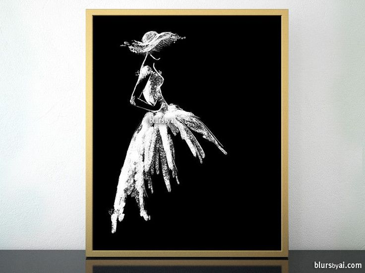 Fashion sketch art print featuring a white vintage style dress in black background