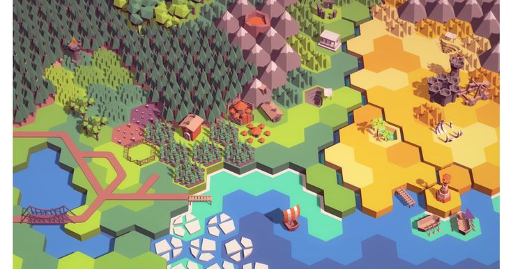 A set of simple 3D hexagonal tiles perfect for turn based strategy, tower defense, and roguelikes. Includes: - Ocean tiles, with set of foam edges - Grass, sand, and dirt tiles with river edges - Full road set and bridge. - Various building objects, including city, farm, barn, and temple. - Natural features, including forests, oases, and bones. All models share an 8x8 pixel texture, with two alternate color palettes.