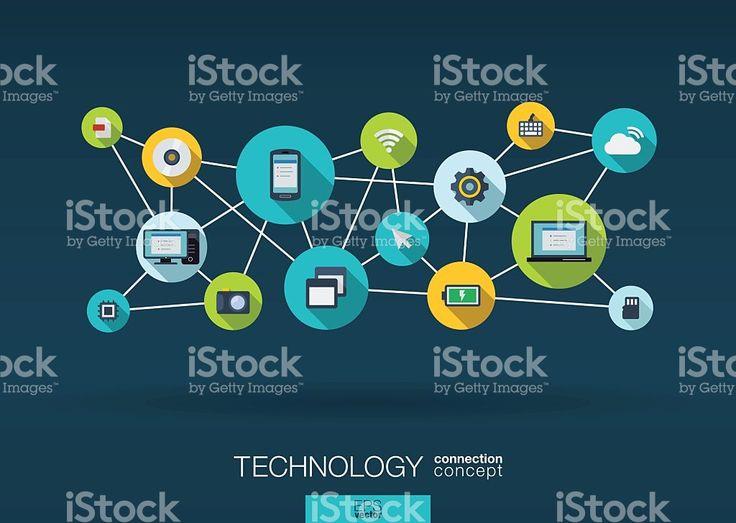 Astratto sfondo vettoriale infografica tecnologia di rete: Linee, cerchi e icone piatte. illustrazione royalty-free