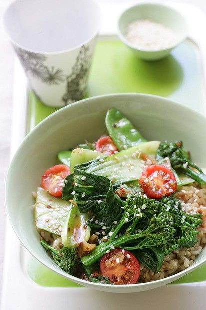 Leftover rice recipe: Jill Dupleix's spicy greens with chilli, garlic and soy rice. Photo: Marina Oliphant