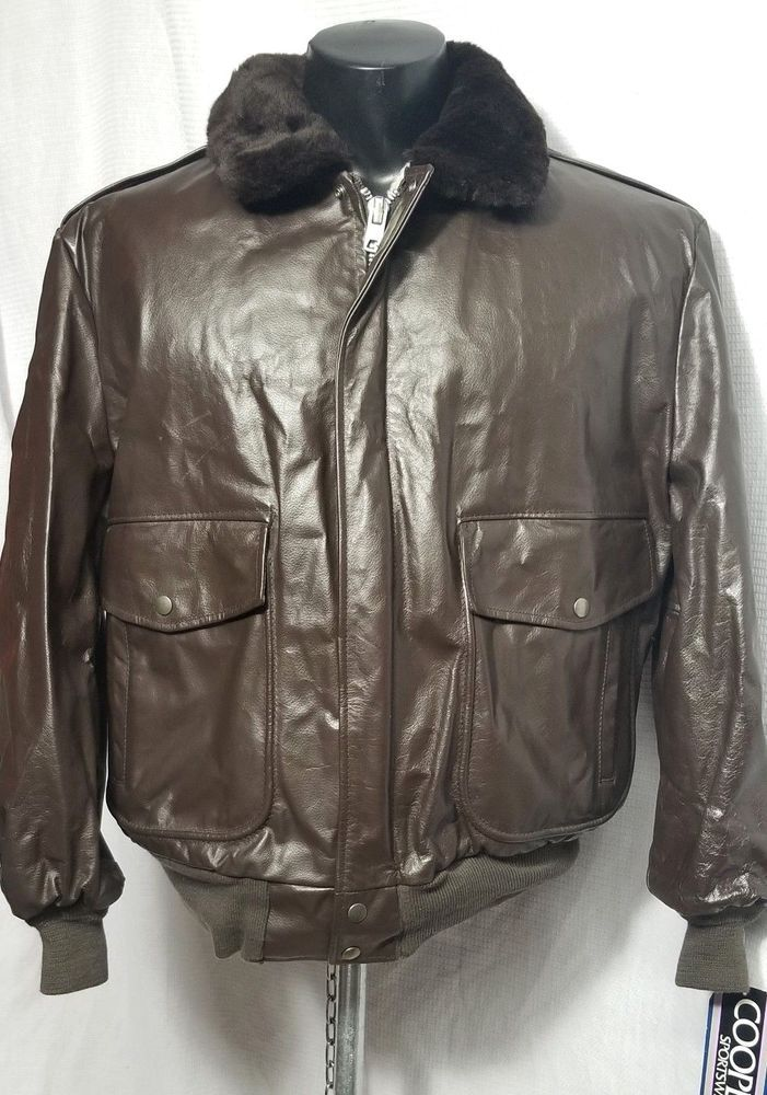 8834a763d Vtg COOPER G1 LEATHER BOMBER JACKET MADE IN USA SIZE 46 NEW ORIGINAL ...