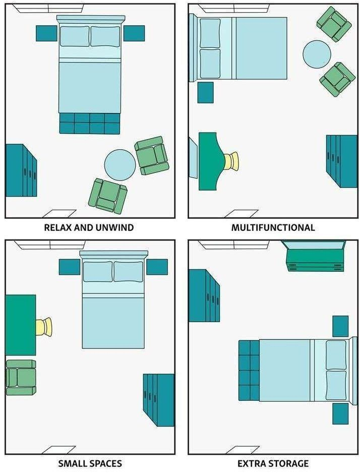 Small Bedroom Layout Ideas And Tips From Bed Placement To Storage Small Master Bedroom King B Small Bedroom Layout Arranging Bedroom Furniture Bedroom Layouts