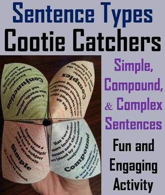 Simple, Compound, and Complex Sentences Cootie Catchers from ScienceSpot on TeachersNotebook.com (3 pages)