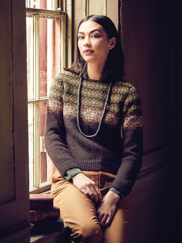 Anglesey - Knit this womens sweater from Rowan Knitting & Crochet Magazine 58, a design by Marie Wallin using Kid Classic (lambswool and kid mohair) and Chenille (cotton.) With a fairisle yoke and set in sleeves, this knitting pattern is suitable for the more experience knitter.
