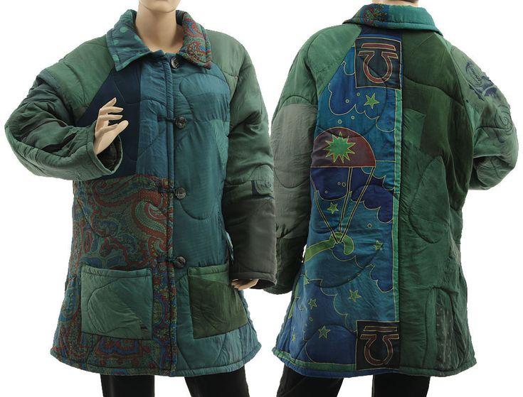 Boho artsy silk coat jacket, patchwork in teal green L-XL