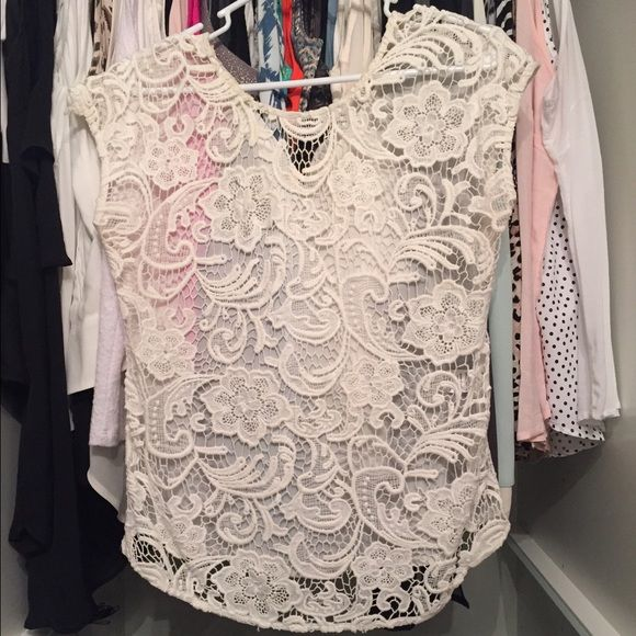 Lace crochet short sleeve top Great condition. No trades. Please use offer feature. If no modeling shot included in listing, it does not fit, please don't request one  Francesca's Collections Tops