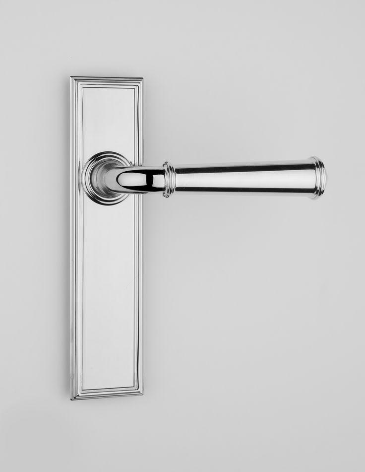Brass Door Lever + Backplate | Hamptons