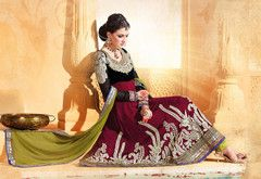 PartyWear Embroidered  Faux Georgette Salwar Kameez Dress Material