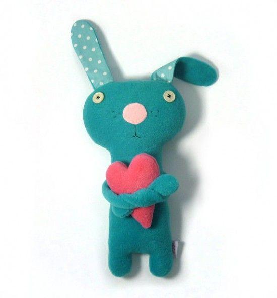 handmade stuffed animal toy – bunny with a heart on etsy – alelale | SmallforBig.com