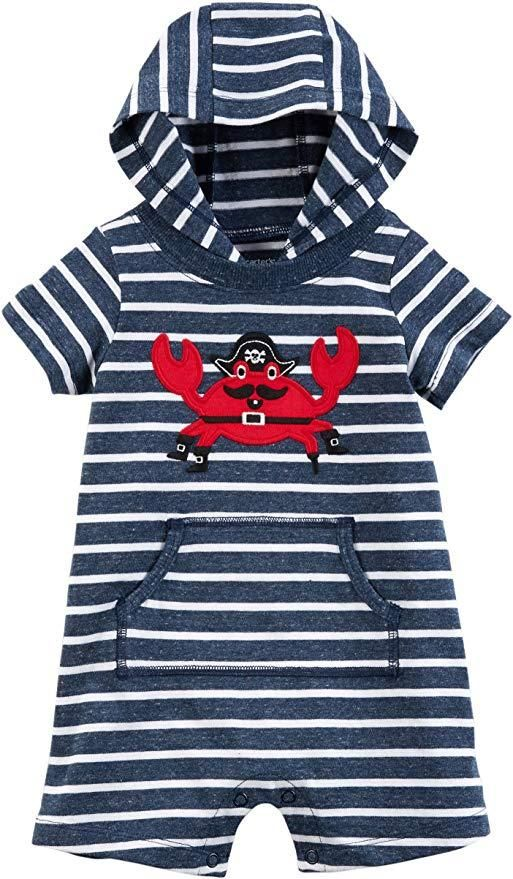 b2d2a3829 Carter's Baby Boy Pirate Crab Striped Hooded Romper 18-M | boy ...