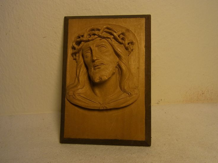 Vintage German Oberammergau Carved Wall Ornament Jesus Face #E