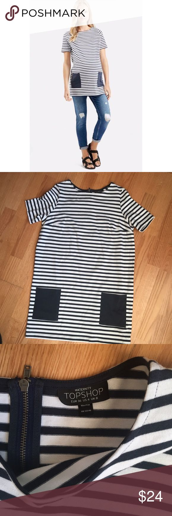 "- Topshop - Stripe Maternity Tunic short sleeve Front patch pockets, back zip closure, 100% cotton, length 31"" bust 20"" Topshop Tops"