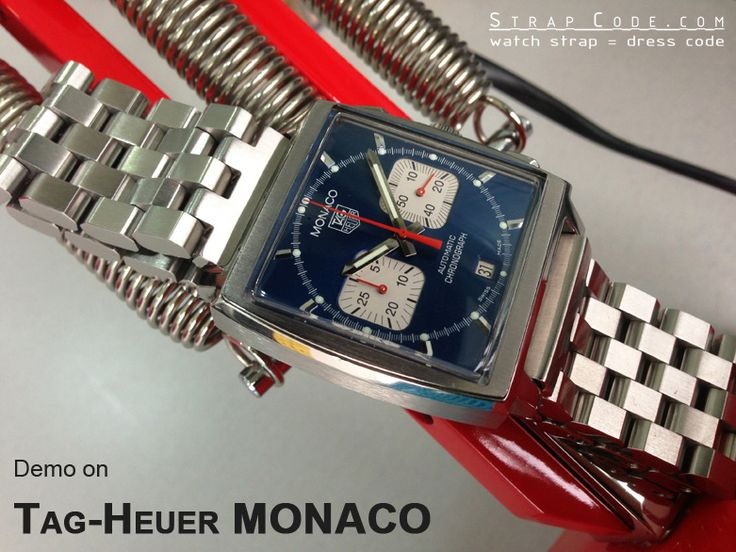 TagHeuer MONACO on 22mm SUPER Engineer Type II Solid Stainless Steel Straight End Watch Band-Push Button [SS222203B024]