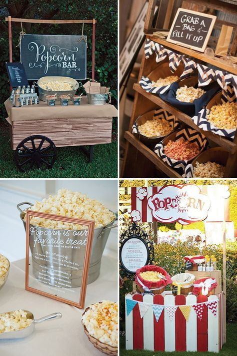 Popcorn bars a delicious new wedding foodie trend   See more great wedding food ideas on www.onefabday.com