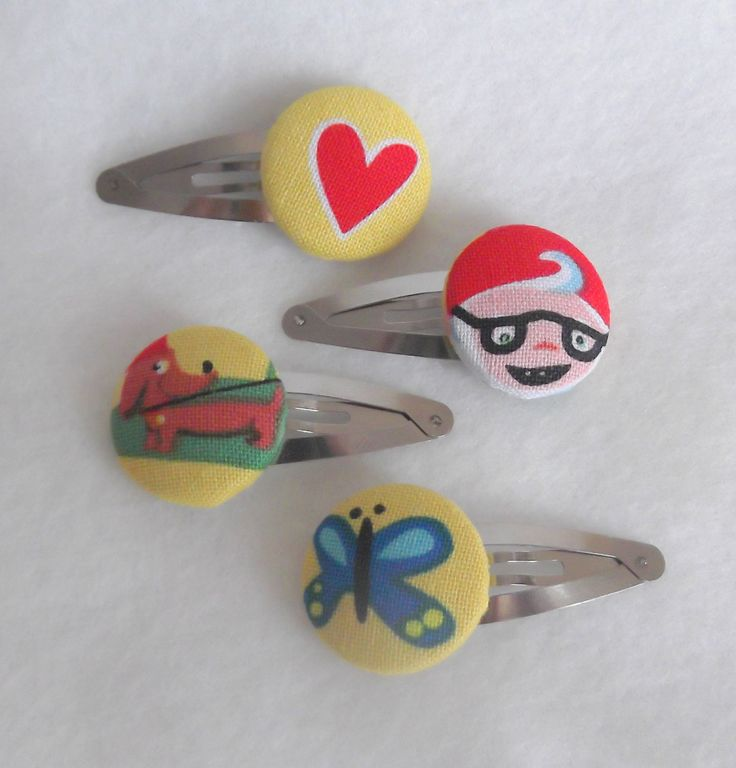 Hair Clips  Cute Fabric and Cover Buttons
