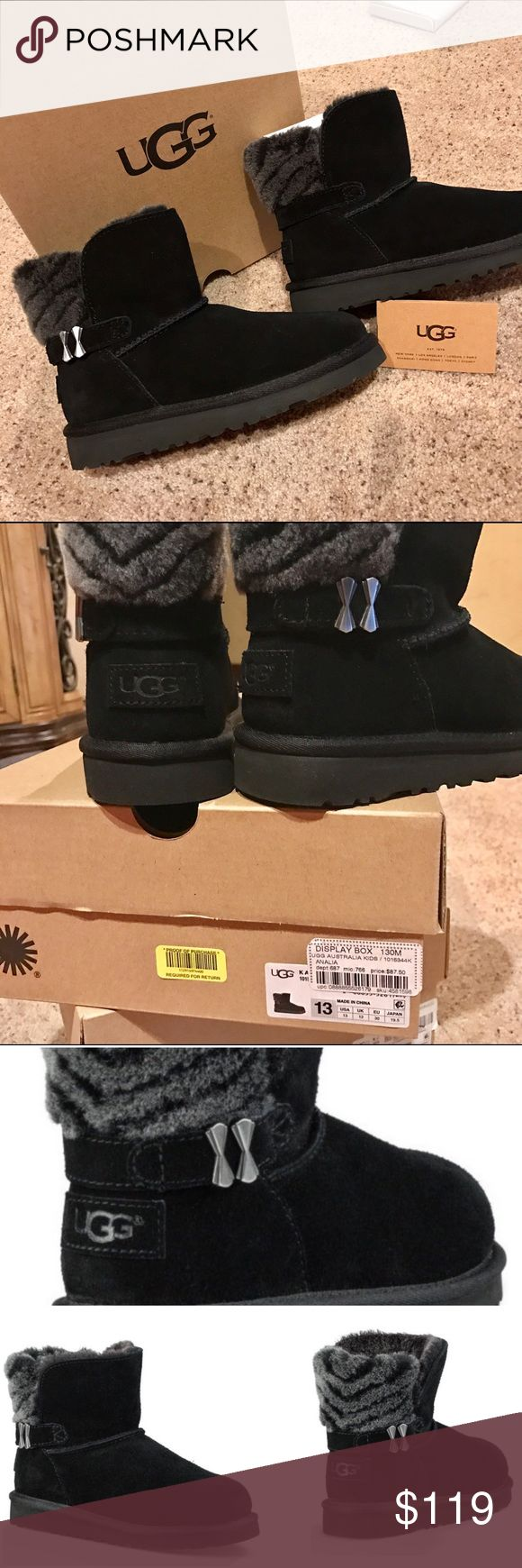 NEW UGG Analia Short Boots 13 Brand new UGG boots in girls size 13.  Comes in original UGG box with authenticity booklet.  Purchased locally can guarantee authenticity.  Analia boot has black suede leather uppers with grey and black striped wool/sheepskin interior.  Super warm.  Double bow buckle on sides. UGG Shoes Boots