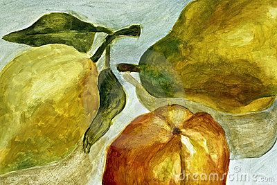 A background still life in oil paint of three pears