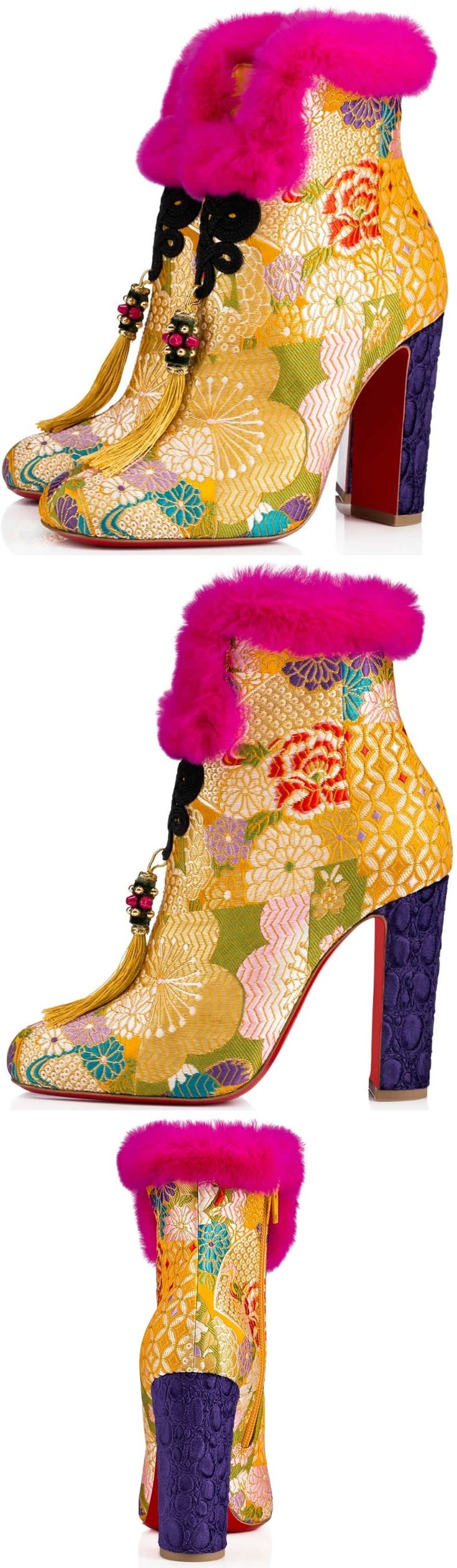 """May Wong"" brings Far Eastern beauty to your Fall/Winter wardrobe with an exquisite Chinese inspired floral jacquard and traditional tassel embellishment. This statement boot features a 100mm embossed velvet heel and is topped with the softest ultra rose orylag rabbit fur trim."