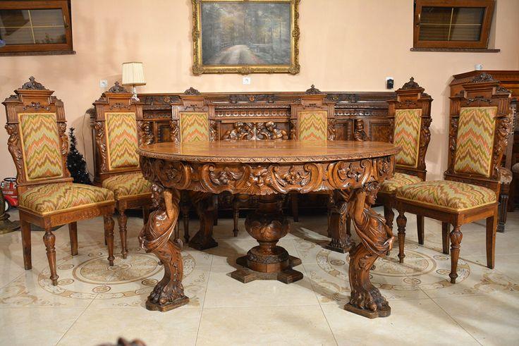Neorenesansowy, potężny stół i 6 krzeseł      http://antykigabi.pl/komplety-mebli/99-neorenesansowy-potezny-stol-i-6-krzesel.html