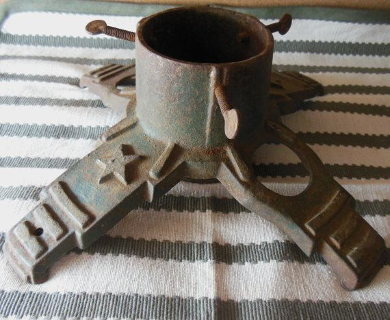Antique Cast Iron Christmas Tree Stand 1920's by WinterberryFarms.