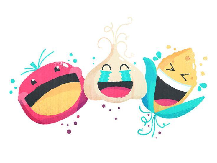 Food Emojis Laughing — http://edt.im/2hJJkPW / #:d #corn #crying #farm #food #illustration #laughing #lol #onion #tomato #vegetables #veggies