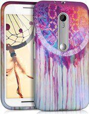 kwmobile FUNDA de TPU silicona para Motorola Moto G (3._. Gen) Diseño atrapasueños en acuarela multicolor rosa fucsia blanco - Estilosa funda de diseño de TPU blando de alta calidad