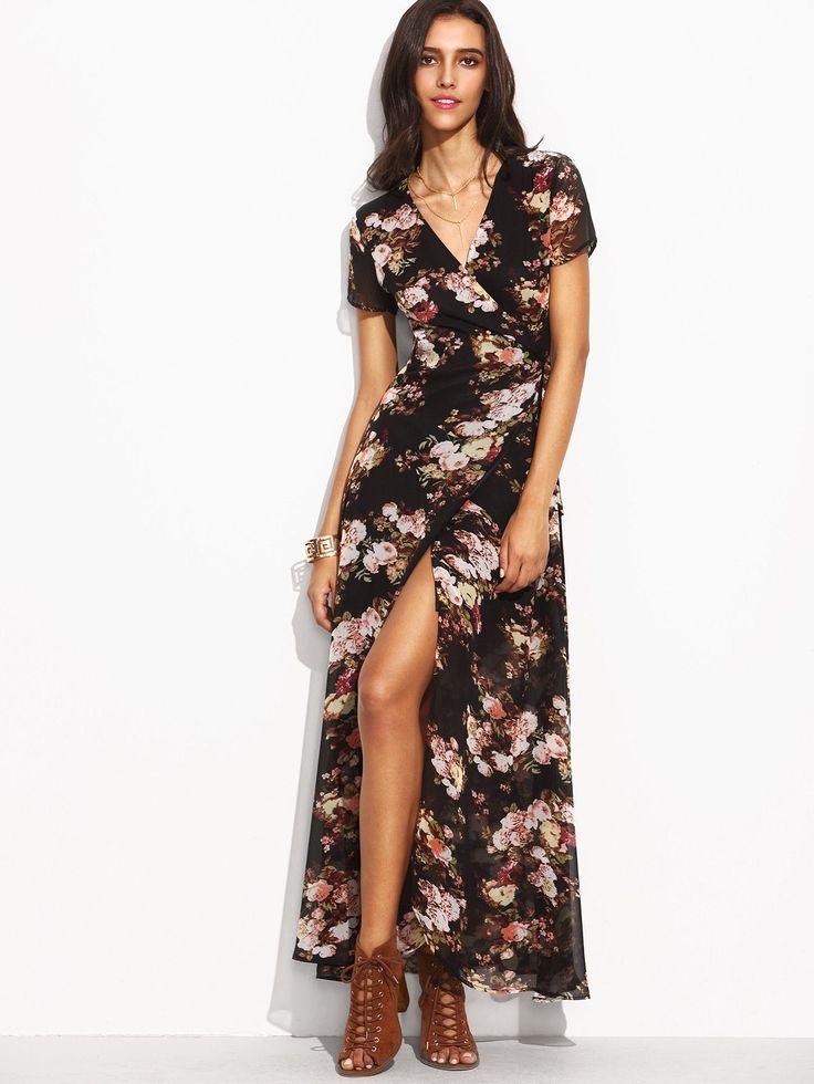 Multicolor Floral Print Self Tie Wrap Dress