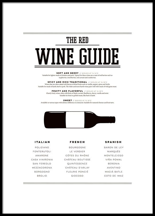 Poster with a wine guide for the kitchen, with a stylish illustration.