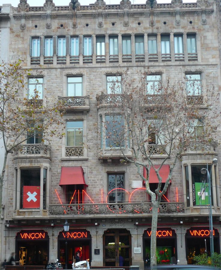 Barcelona Passeig de Gràcia. Ramon Casas building  and Vinçon design shop.