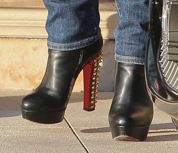 Lisa Vanderpump wearing Christian Louboutin Taclou Spiked-Heel Booties