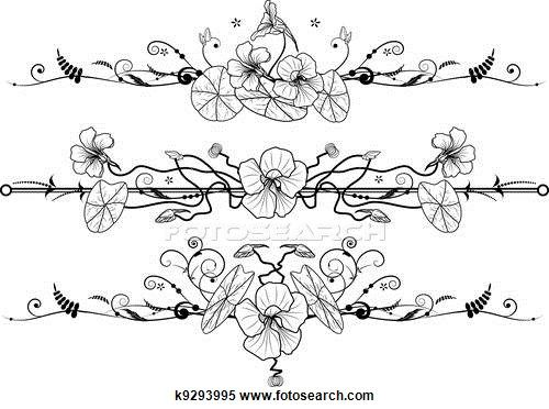 Clipart of floral set with nasturtium k9293995 - Search Clip Art, Illustration Murals, Drawings and Vector EPS Graphics Images - k9293995.eps