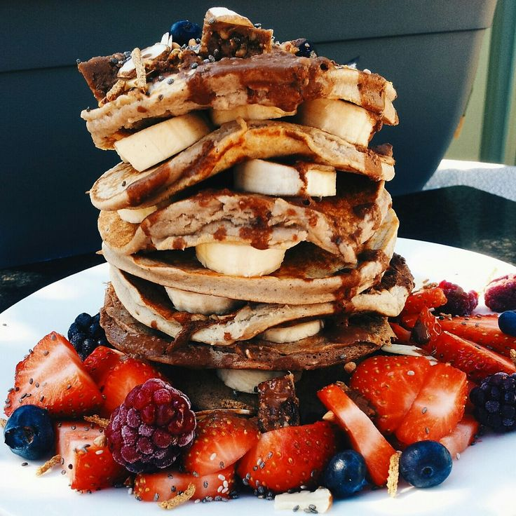 """tessbegg: """"VANILLA BUCKWHEAT PANCAKES Ingredients- • 1 Cup buckwheat flour • 1 Cup almond milk • ½ Cup water • 5 drops Vanilla • 1 Banana (mashed) Method: • Mix dry stuff with wooden spoon then add..."""